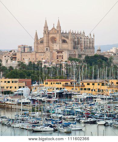Palma, Palma de Mallorca, Spain - 15 July 2010: Cathedral Seu Seo of Palma de Mallorca at Balearic Islands in Spain.
