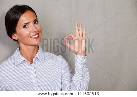 Straight Hair Female Smiling With Perfect Sign