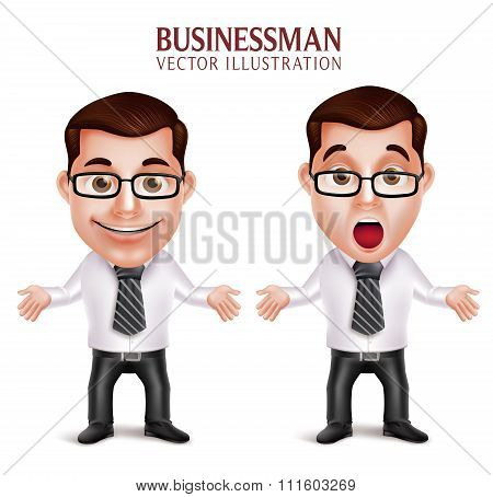 Professional Business Man Character Shocked and Surprised