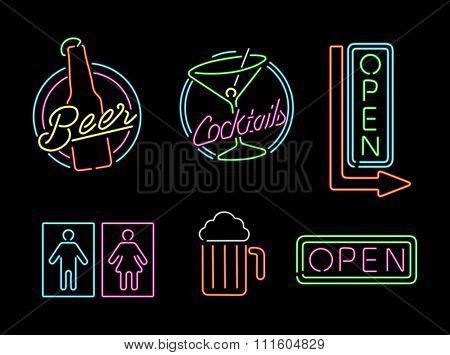 Neon Light Sign Set Icon Retro Bar Beer Open Label