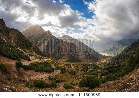 Mountain Autumn Landscape In The Sunlight