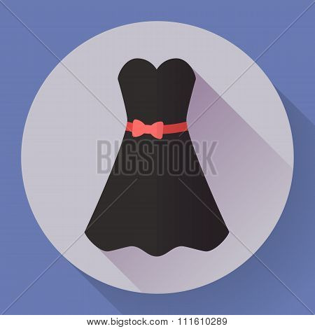 Black dress - classic fashion. Icon in the flat style