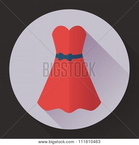 Red dress - classic fashion. Icon in the flat style