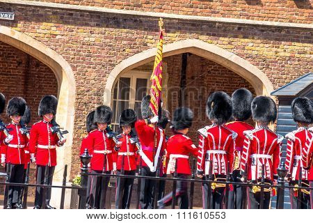 The Ceremonial Flag Removal. British Guardsmen Preparing For The Parade Opposite St. James Palace.