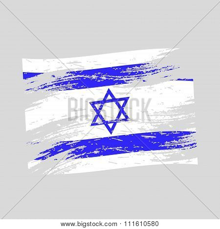 Color Israel National Flag Grunge Style Eps10