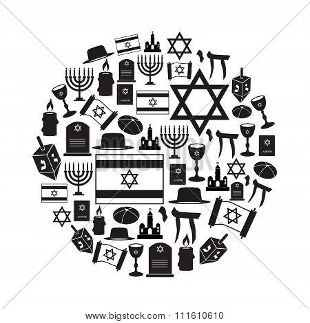 Judaism Religion Symbols Vector Set Of Icons In Circle Eps10