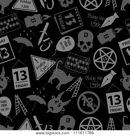 Friday The 13 Bad Luck Day Icons Seamless Dark Pattern Eps10
