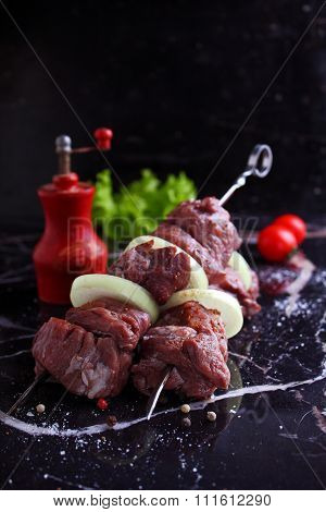 Grilled Shashlik With Onions, Tomatoes And Lettuce
