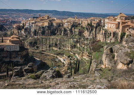View To City Cuenca And Strange Rock Formations