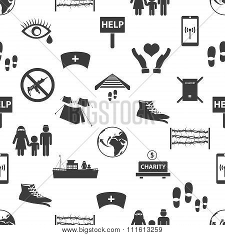 Various Simple Refugees Theme Icons Seamless Pattern Eps10