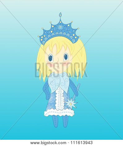 Cute Chibi Snow Maiden In A Blue Dress. Vector Christmas Illustration Of Funny Little Girl.