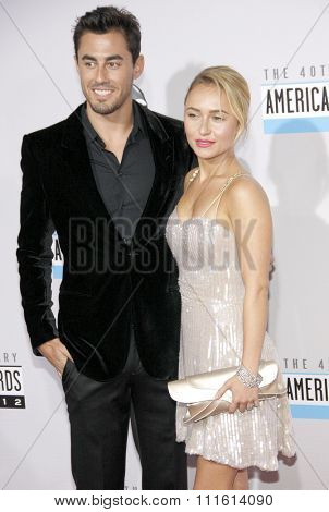 Scotty McKnight and Hayden Panettiere at the 40th American Music Awards held at the Nokia Theatre L.A. Live in Los Angeles, USA on November 18, 2012.