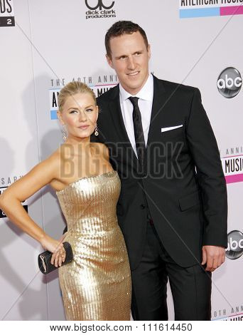 Dion Phaneuf and Elisha Cuthbert at the 2012 American Music Awards held at the Nokia Theatre L.A. Live in Los Angeles, USA on November 18, 2012.