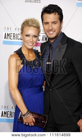 Luke Bryan and Caroline Bryan at the 2012 American Music Awards held at the Nokia Theatre L.A. Live in Los Angeles, USA on November 18, 2012.