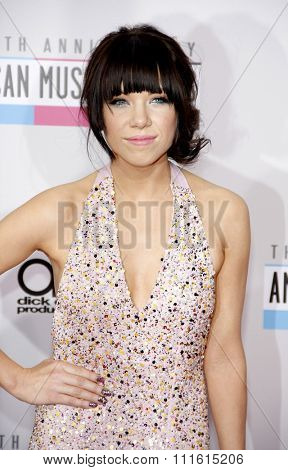 Carly Rae Jepsen at the 2012 American Music Awards held at the Nokia Theatre L.A. Live in Los Angeles, USA on November 18, 2012.