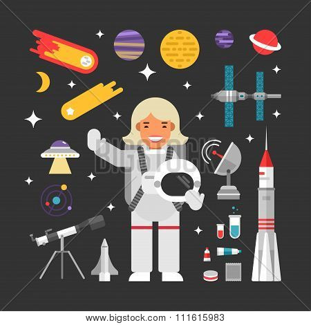 Set Of Vector Icons And Illustrations In Flat Design Style. Female Cartoon Character Astronaut Surro