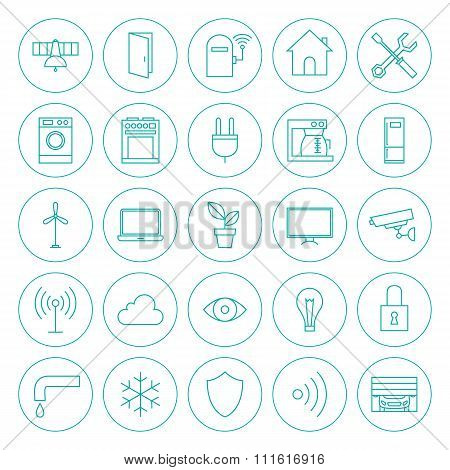 Line Circle Smart Home Technology Icons Set