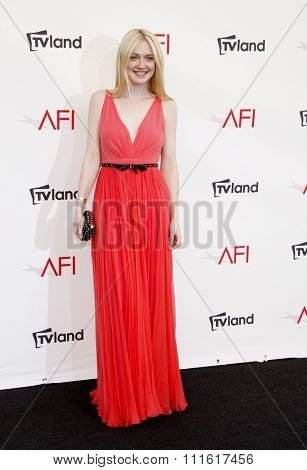 Dakota Fanning at the AFI Life Achievement Award Honoring Shirley MacLaine held at the Sony Studios in Los Angeles, USA on June 7, 2012.