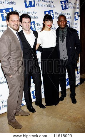 Jake Johnson, Hannah Simone, Max Greenfield and Lamorne Morris at the Alliance for Children's Rights Dinner Honoring Kevin Reilly held at the Beverly Hilton Hotel in Los Angeles, USA on March 1, 2012.