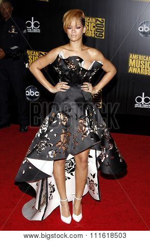 Rihanna at the 2009 American Music Awards at Nokia Theatre L.A. Live in Los Angeles, USA on November 22, 2009.