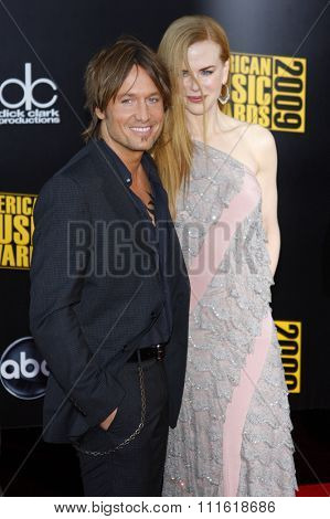 Keith Urban and Nicole Kidman at the 2009 American Music Awards at Nokia Theatre L.A. Live in Los Angeles, USA on November 22, 2009.