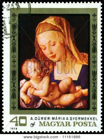 Vintage  Postage Stamp. Albrecht Durer. Virgin And Child.