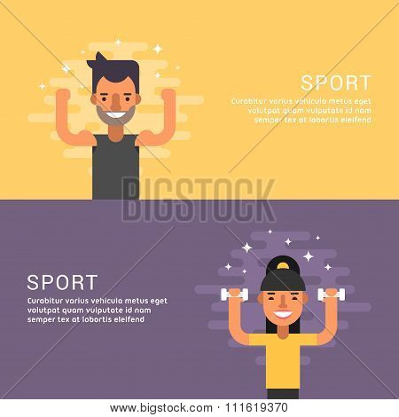 People Sport Concept. Fitness. Male And Female Cartoon Characters. Flat Design Concepts For Web Bann