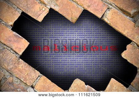 Business Concept For Data Security - Hole In Brick Wall With Binary Digit Background Inside With Mal