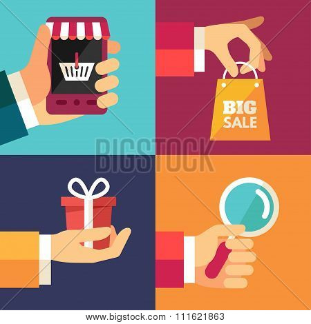 Hand With Smartphone, Hand With Shoping Bag, Hand With Gift, Hand With Magnifying Glass. Set Of Flat