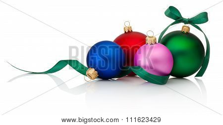 Colored Christmas Baubles With Ribbon Bow Isolated On White Background