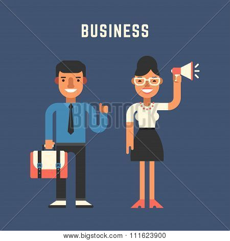 Businessman Concept. Male And Female Cartoon Characters. Flat Design Vector Illustration