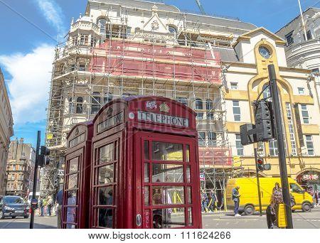 Two Traditional Old  Red Telephon Boothes In  The Central London