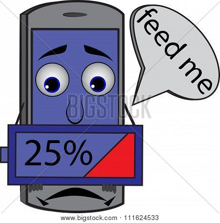 Sad Cartoon Cellphone Holding Battery 25%