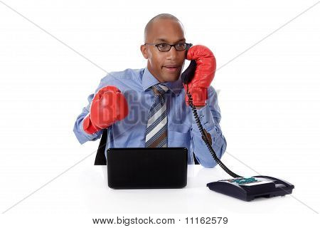 Attractive Young African American Businessman, Boxing Gloves