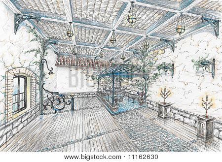 Interior of restaurant hall in style of city