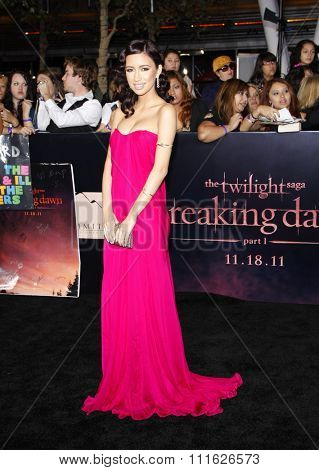 Christian Serratos at the Los Angeles premiere of 'The Twilight Saga: Breaking Dawn Part 1' held at the Nokia Theatre L.A. Live in Los Angeles, USA on November 14, 2011.