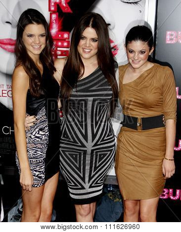 HOLLYWOOD, CALIFORNIA - November 15, 2010. Kendall Jenner, Khloe Kardashian and Kylie Jenner at the Los Angeles premiere of