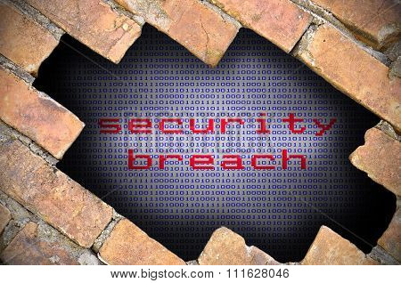 Business Concept For Data Security - Hole In Brick Wall With Binary Digit Background Inside With Sec