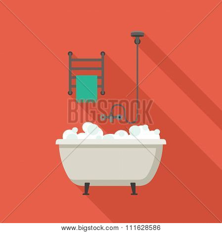 Bath flat illustration.