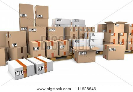 Group Of Stacked Cardboard Boxes On Wooden Shipping Pallets Are On Warehouse.