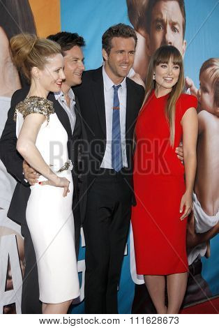 WESTWOOD, CALIFORNIA - August 1, 2011. Leslie Mann, Jason Bateman, Ryan Reynolds and Olivia Wilde at the Los Angeles premiere of