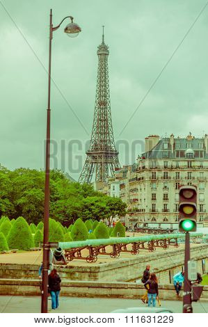 Beautiful view of the Eiffel Tower from Les Invalides in Paris, France