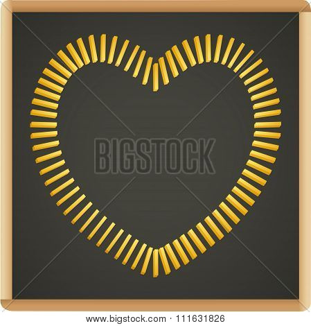 Slate blackboard with french fries shaped heart