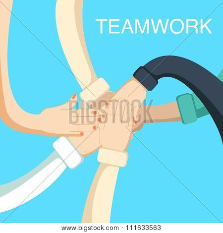 Business people teamwork concept with hands of coworkers