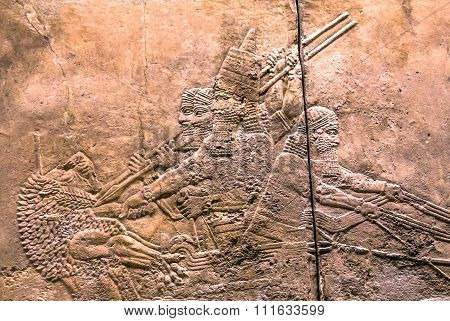 King Hunt Relief From Palace Of Assurbanipal In Nineveh, Assyria. British Museum. London, Uk