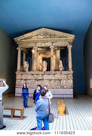 Unidentified visitirs in the hall with Nereid Monument . British Museum,UK