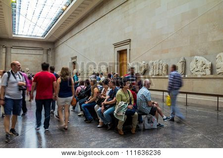 Unidentified visitirs in the hall with Marble from Acropolis, Greece. British museum. London