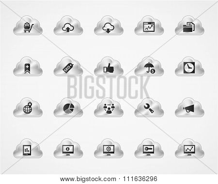 Set of SEO 2 icons on metallic clouds