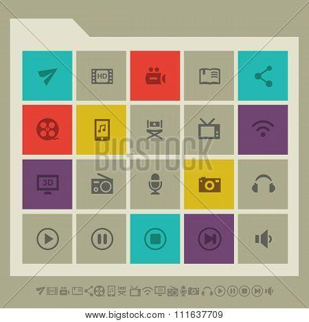 Multimedia icon set. Multicolored square flat buttons