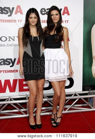 HOLLYWOOD, CALIFORNIA - September 13, 2010. Kendall Jenner and Kylie Jenner at the Los Angeles premiere of